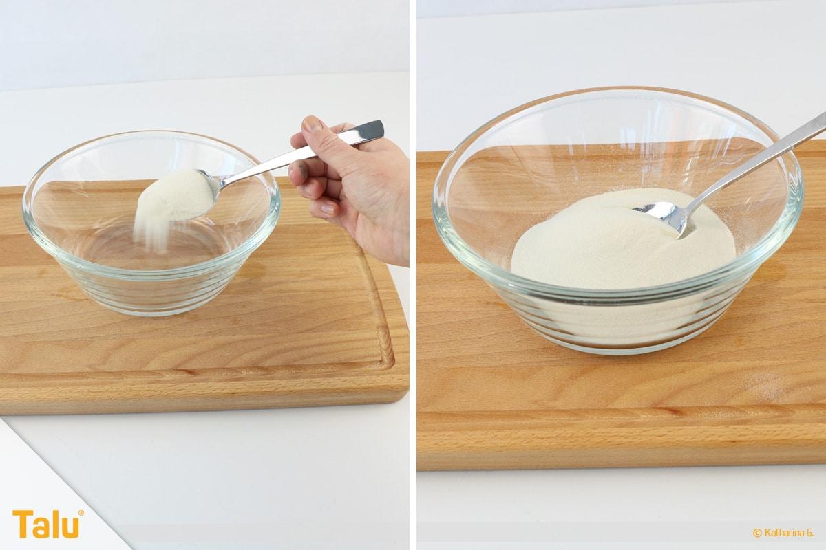 Essbarer Glitzer, Glitzerpulver, Variante aus Gummar, Gummar abmessen