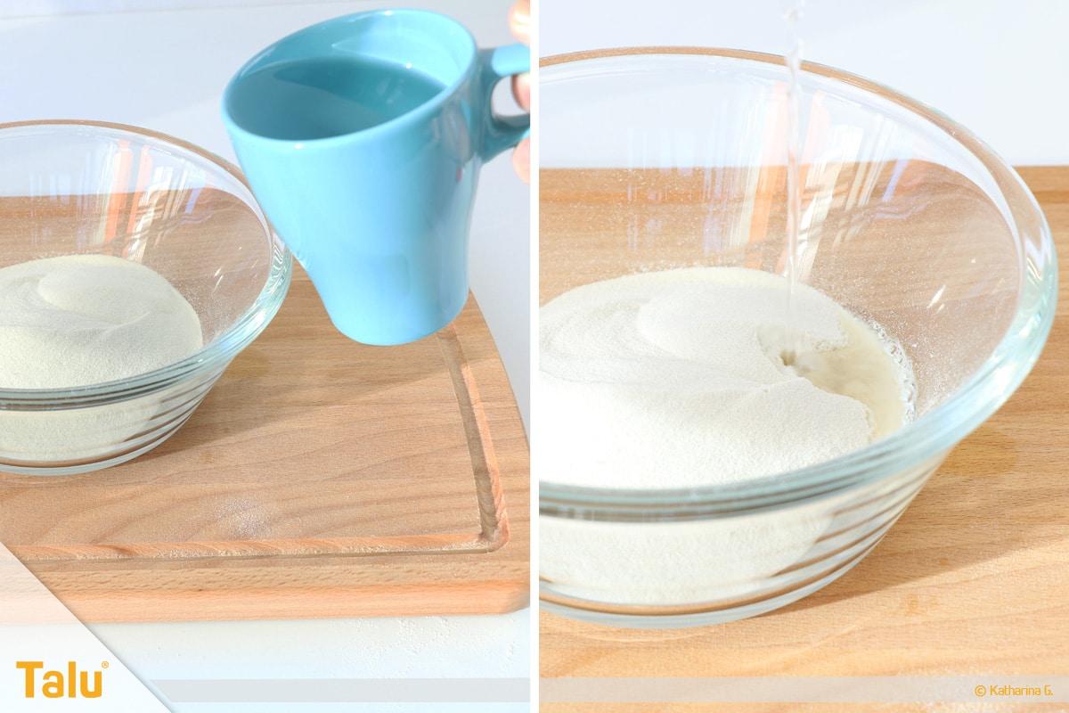 Essbarer Glitzer, Glitzerpulver, Variante aus Gummar, Wasser dazufügen
