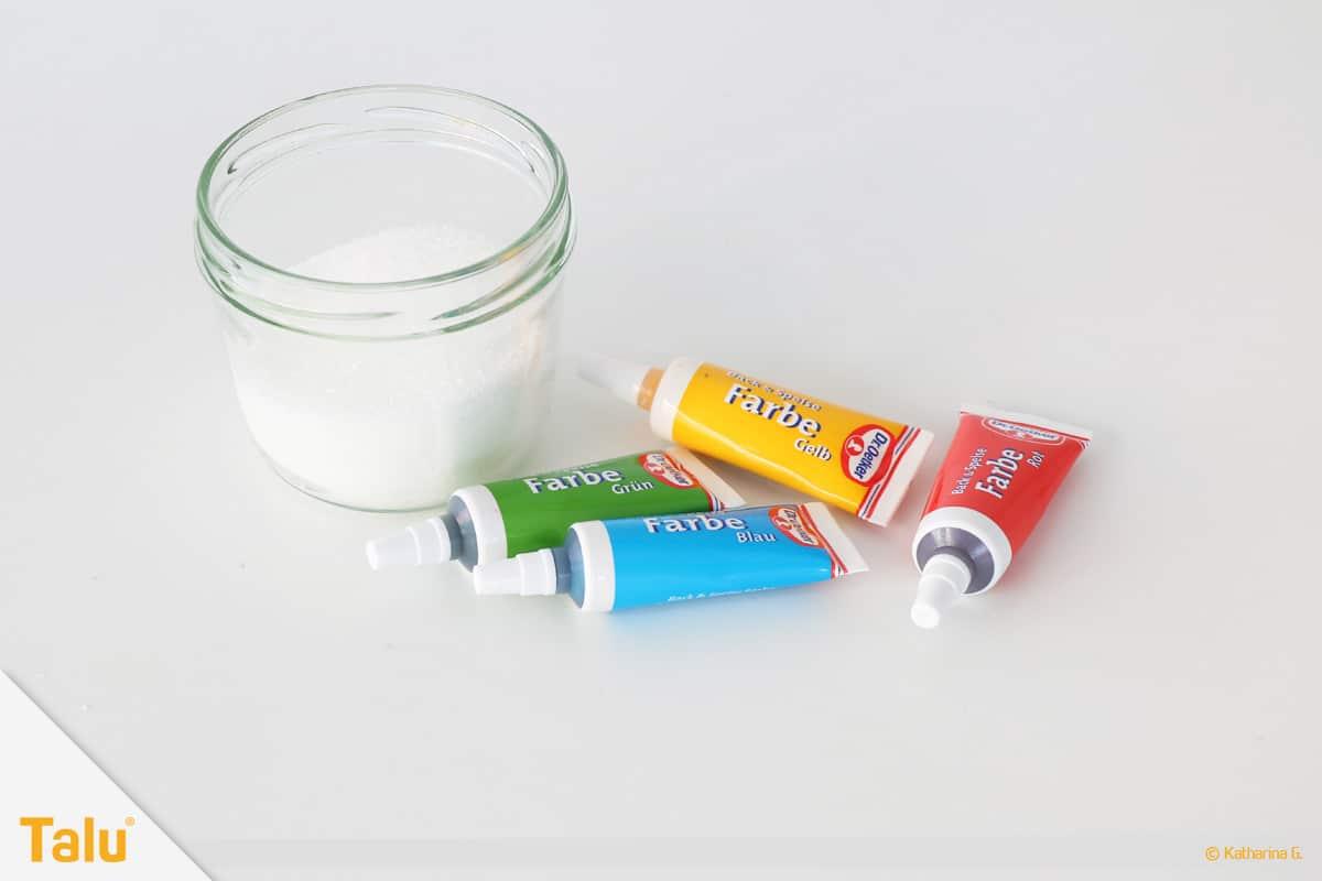 Essbarer Glitzer, Glitzerpulver, Variante aus Zucker, Material