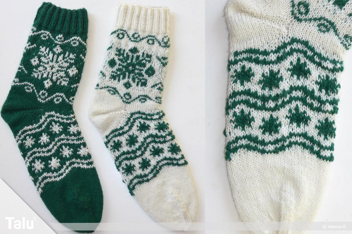 Gestrickte Socken, Norwegermuster, fertige Socken im Norwegermuster