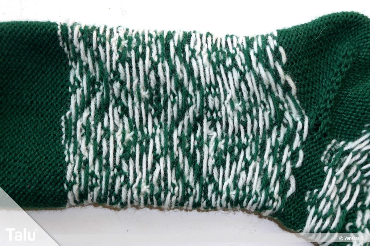 Gestrickte Socken, Norwegermuster, Innenseite der gestrickten Socke