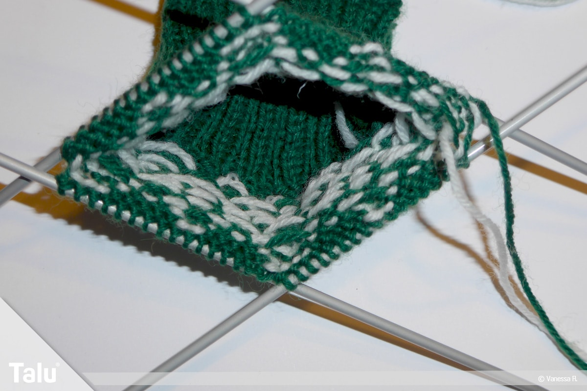 Gestrickte Socken, Norwegermuster, Nadelspiel Socken-Innenseite