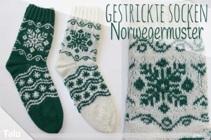Gestrickte Socken, Norwegermuster stricken, kostenlose Strickanleitung