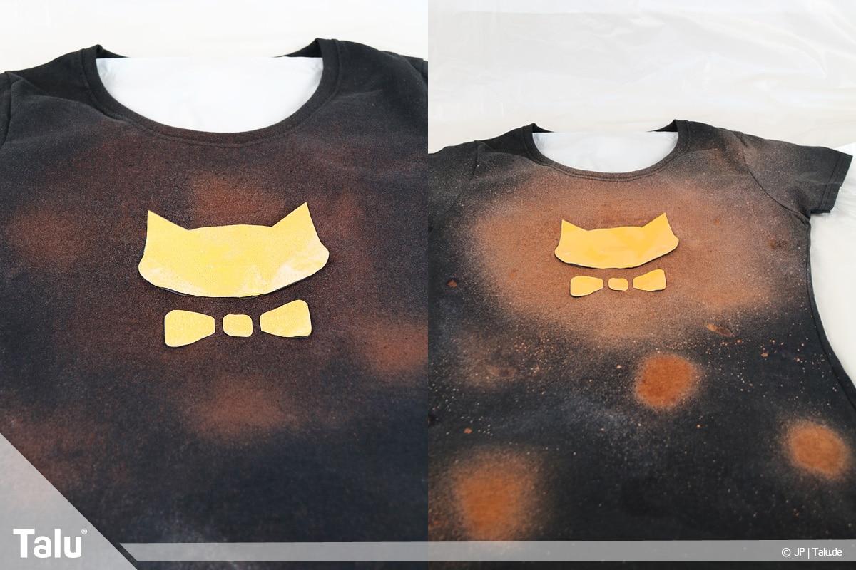 T-Shirt selbst bedrucken, mit Bleichmittel, Bleichprozess beginnt