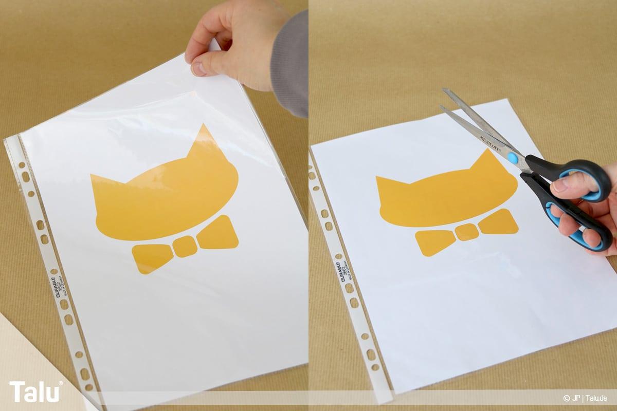 T-Shirt selbst bedrucken, mit Bleichmittel, Motiv ausschneiden