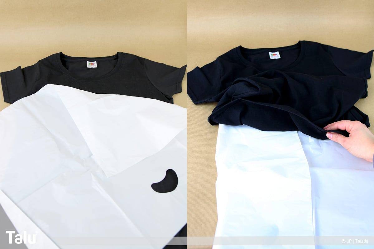 T-Shirt selbst bedrucken, mit Bleichmittel, Schutzfolie ins T-Shirt legen