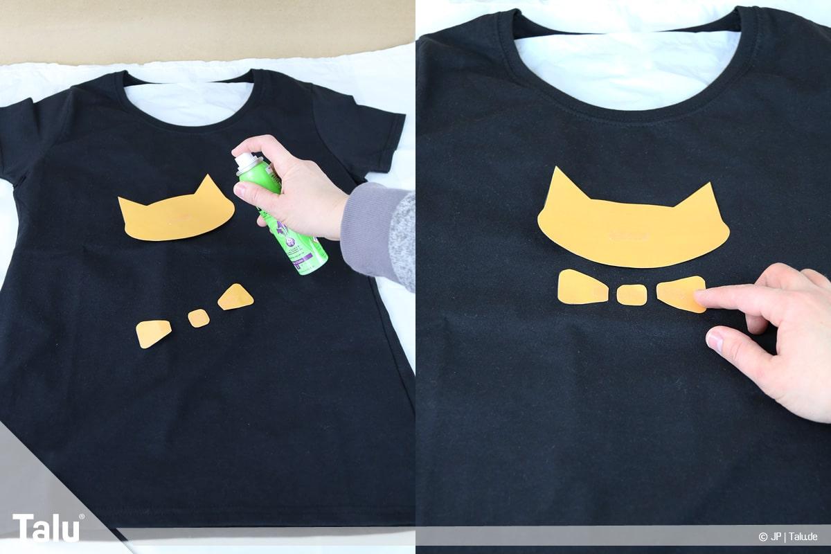 T-Shirt selbst bedrucken, mit Bleichmittel, Motiv auf Shirt platzieren und fixieren