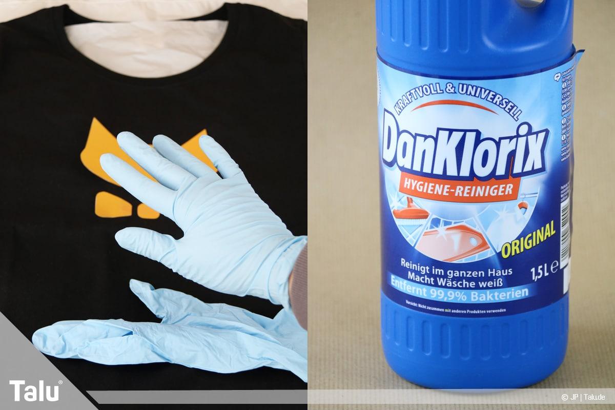 T-Shirt selbst bedrucken, mit Bleichmittel, Einweghandschuhe anziehen