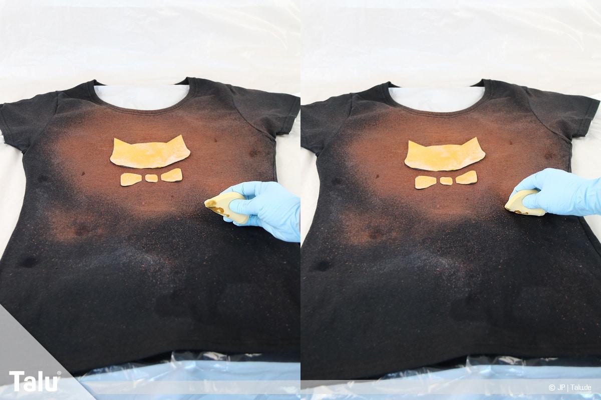 T-Shirt selbst bedrucken, mit Bleichmittel, Bleiche auch mit Schwamm auftragbar