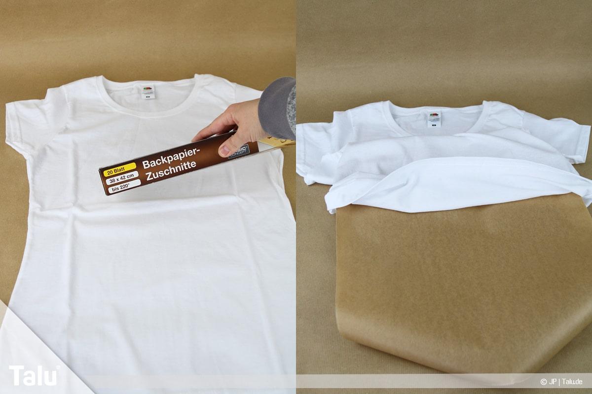 T-Shirt selbst bedrucken, mit Lavendelöl, Backpapier in das Shirt legen
