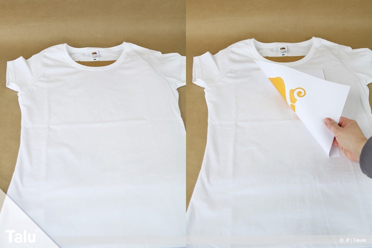 T-Shirt selbst bedrucken, mit Lavendelöl, ausgedrucktes Motiv auf Shirt platzieren