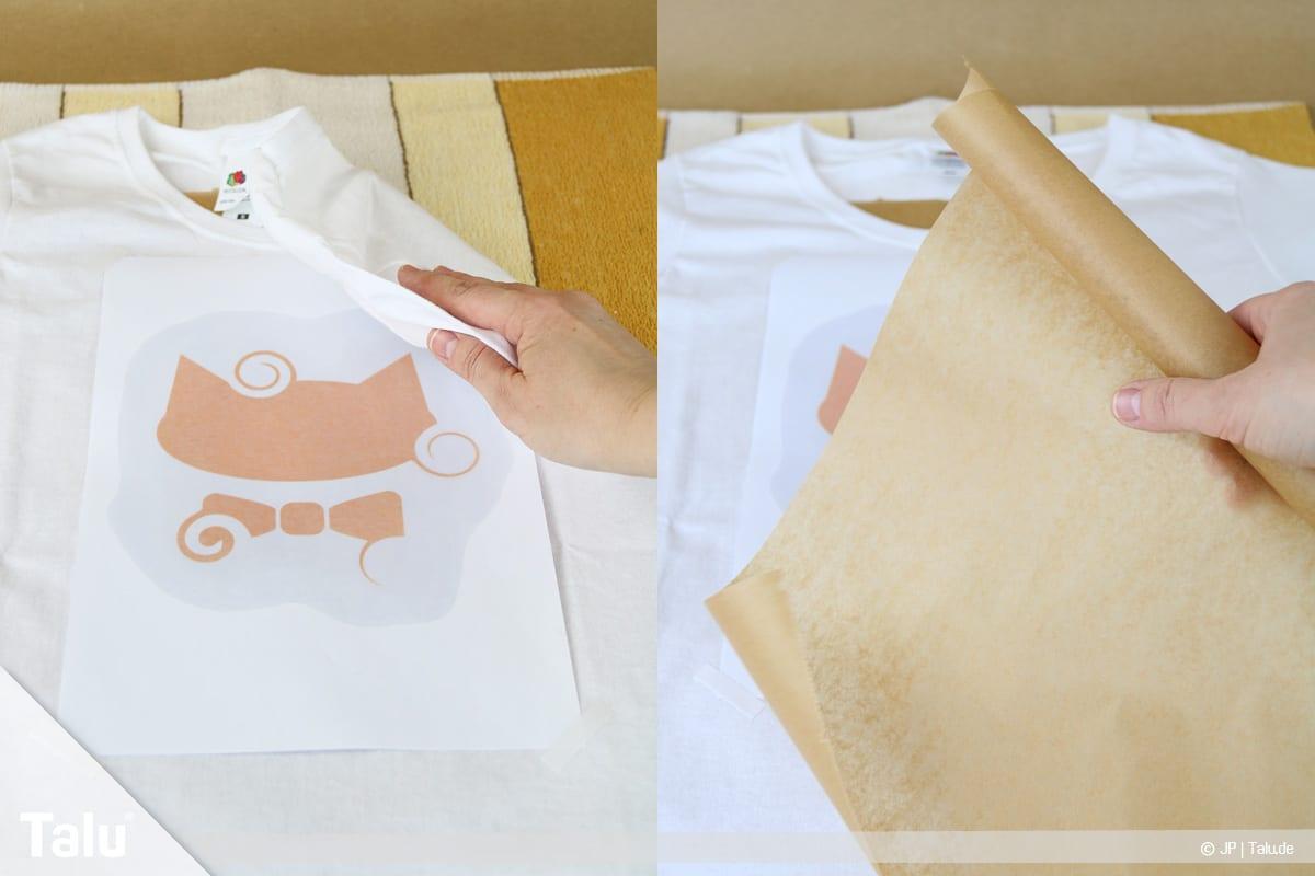T-Shirt selbst bedrucken, mit Lavendelöl, Backpapier auf Shirt auflegen
