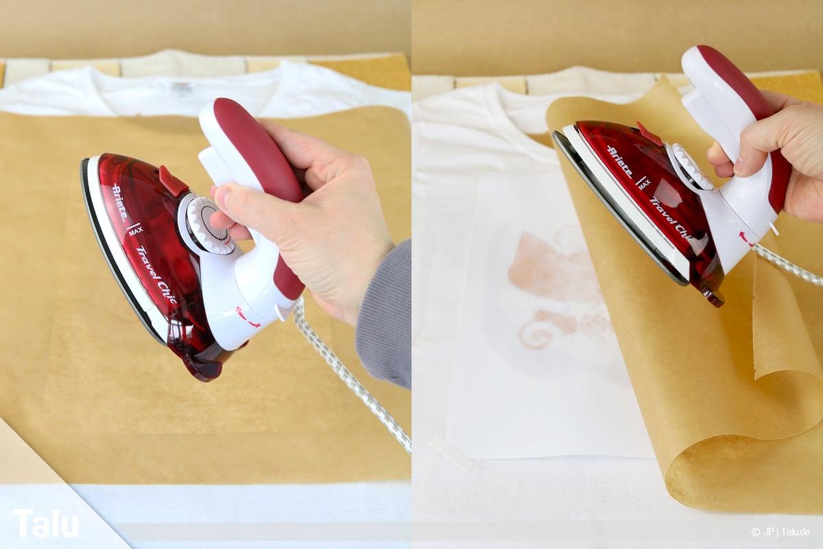 T-Shirt selbst bedrucken, mit Lavendelöl, über Motiv bügeln