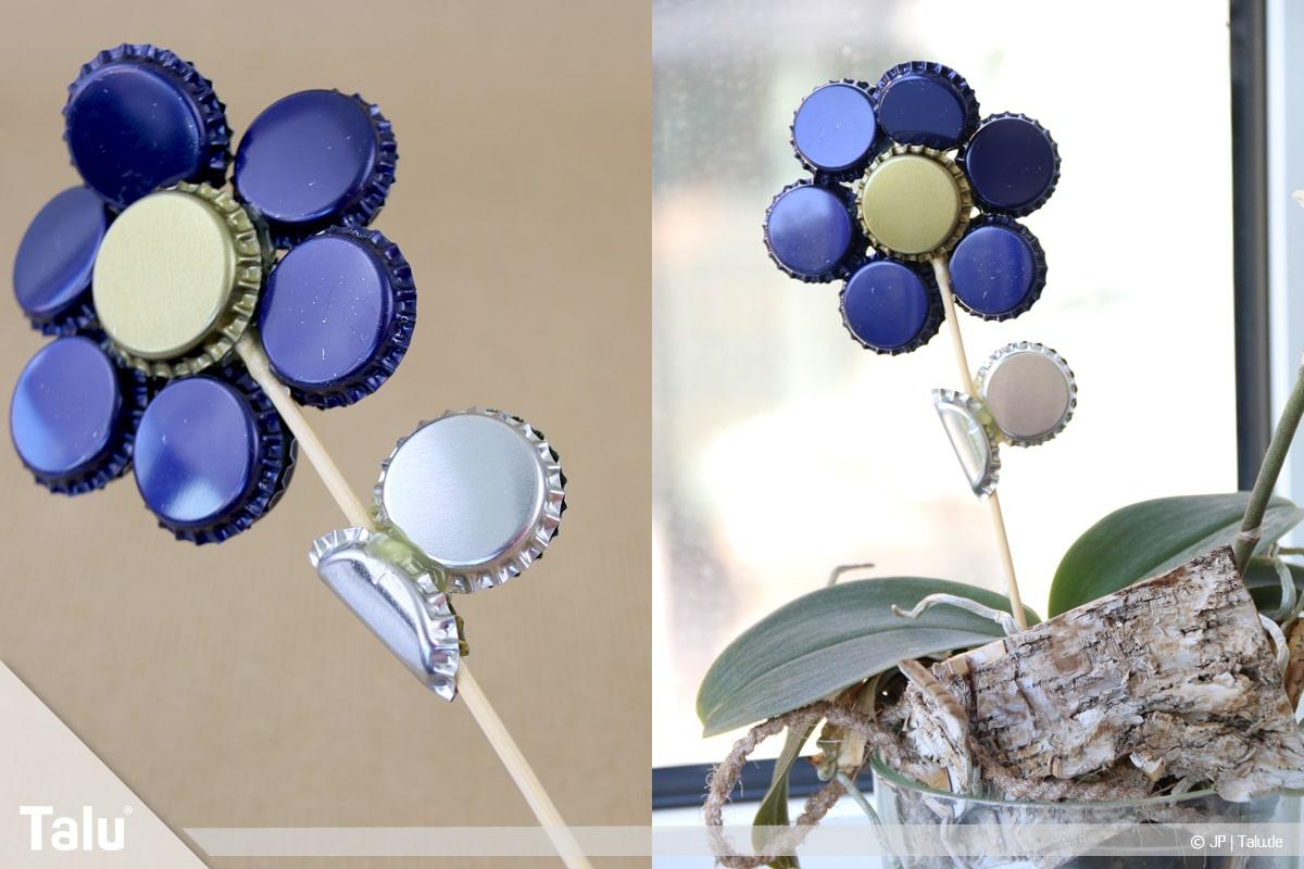 Basteln mit Kronkorken, Variante Blume, Bierkronen-Blume als Pflanzendeko