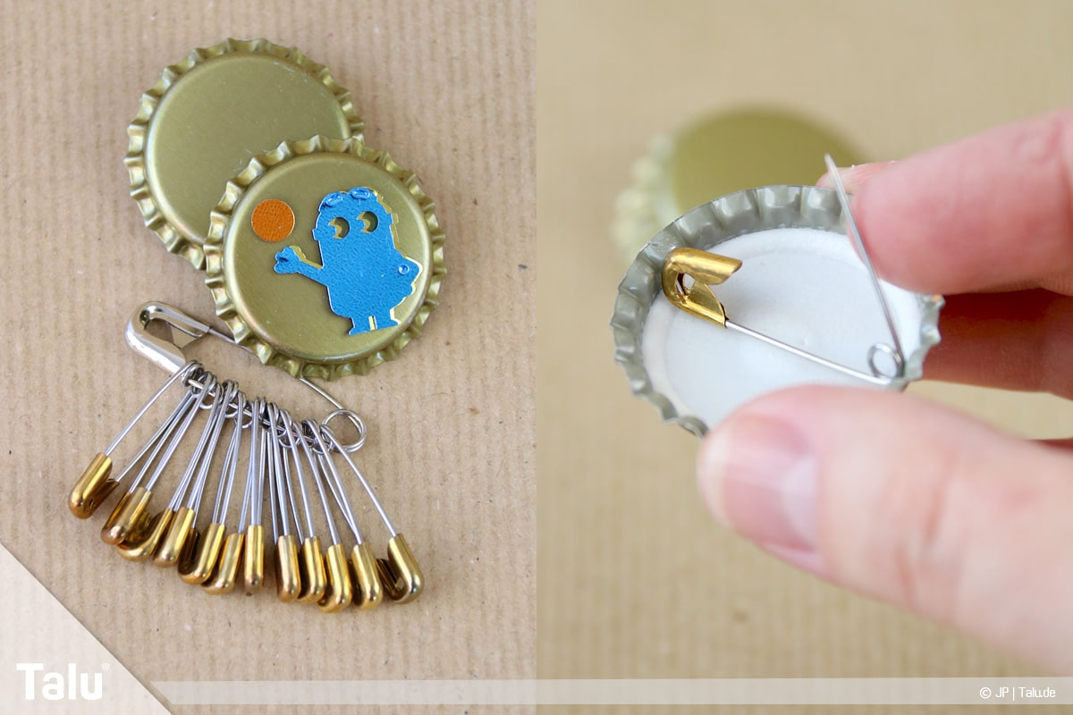 Basteln mit Kronkorken, Variante Buttons, Material für Bierkronen-Anstecker