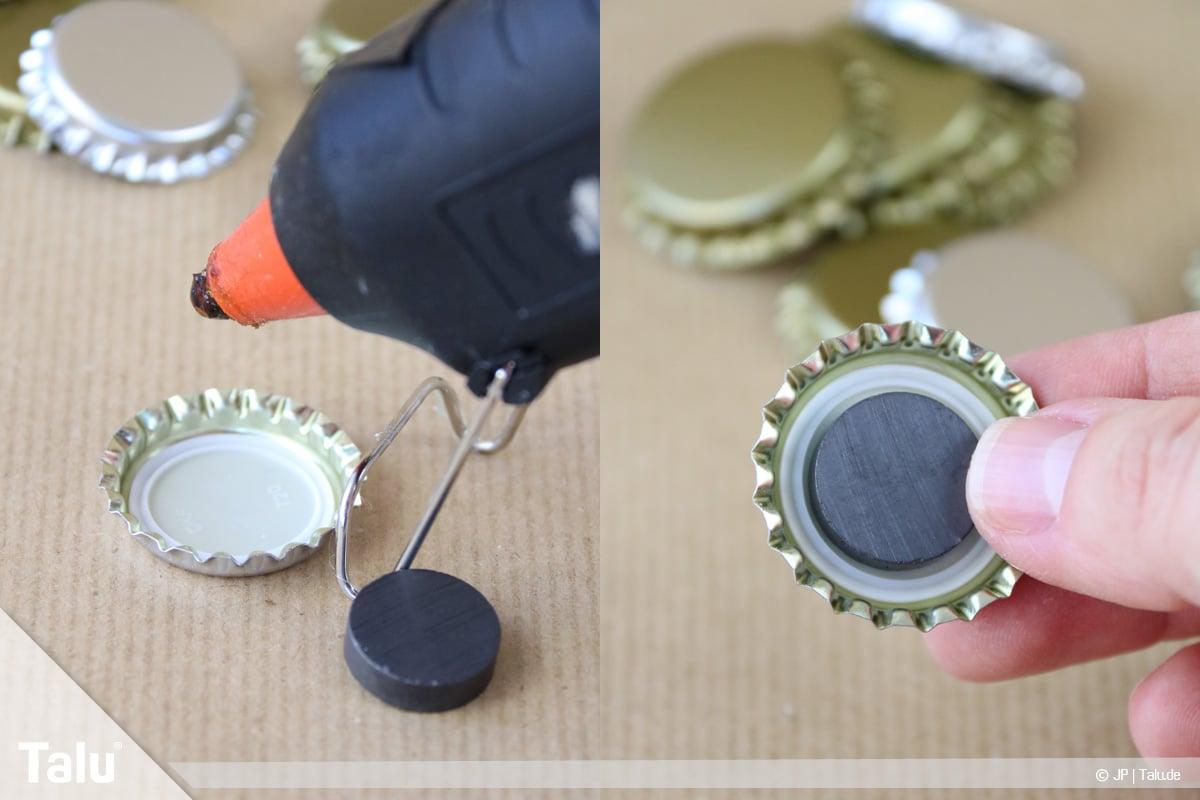 Basteln mit Kronkorken, Variante Magnete, Magnet ankleben