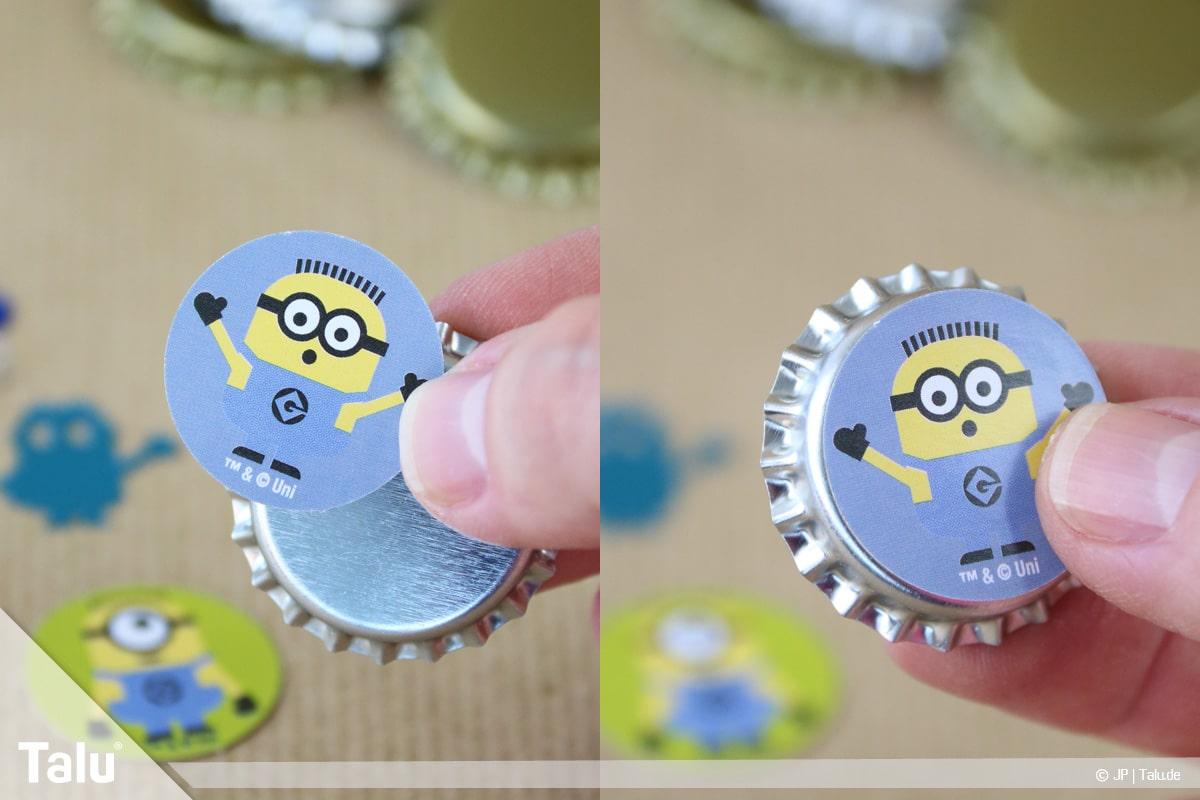 Basteln mit Kronkorken, Variante Magnete, Magnet-Bierkronen verzieren