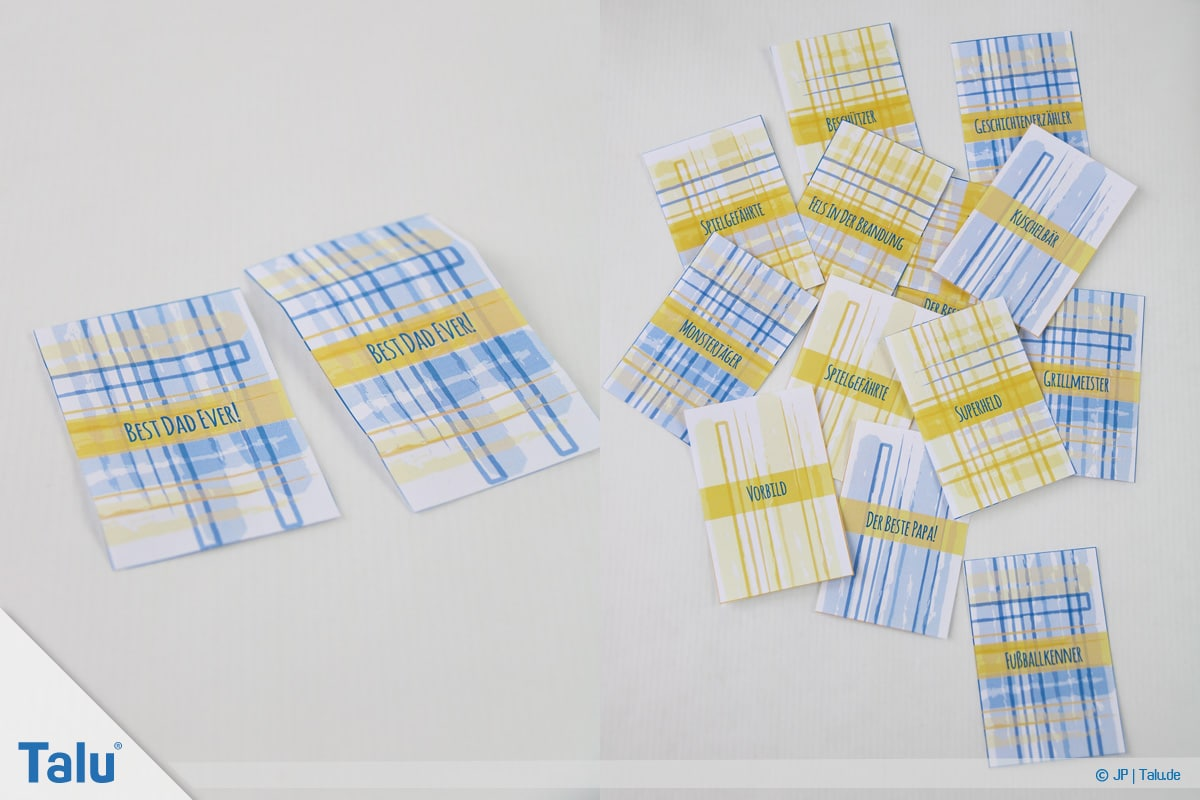 Basteln zum Vatertag, Sprüche und Vorlagen, ausgeschnittene Banderolen für Schokoriegel