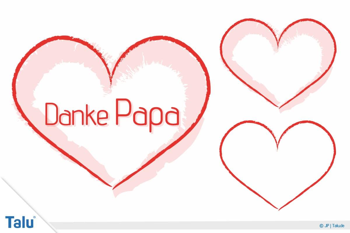 Basteln zum Vatertag, Sprüche und Vorlagen, Druckvorlage Herzen Danke Papa