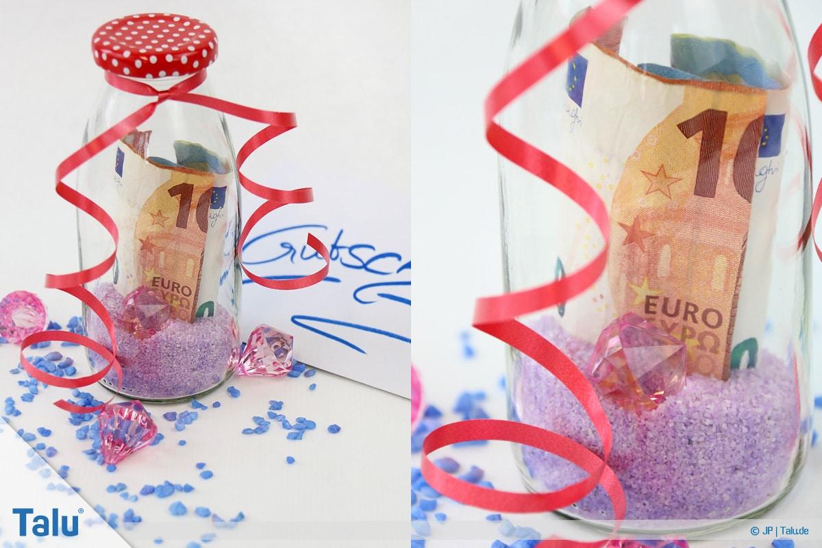 Geldgeschenke und Gutscheine originell verpacken, Flaschenpost