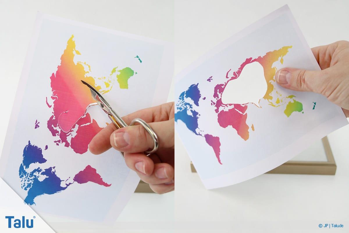 Geldgeschenke und Gutscheine originell verpacken, Weltkarte, Länder aus Karte ausschneiden