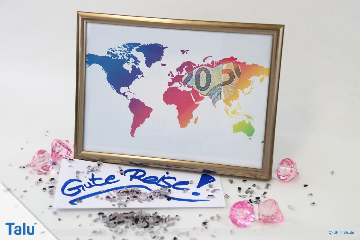 Geldgeschenke und Gutscheine originell verpacken, Weltkarte, Geldscheine in Karte einsetzen