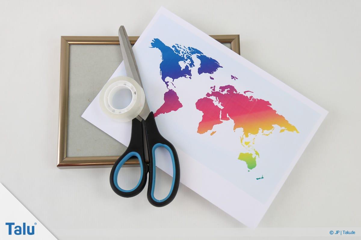 Geldgeschenke und Gutscheine originell verpacken, Weltkarte, Material