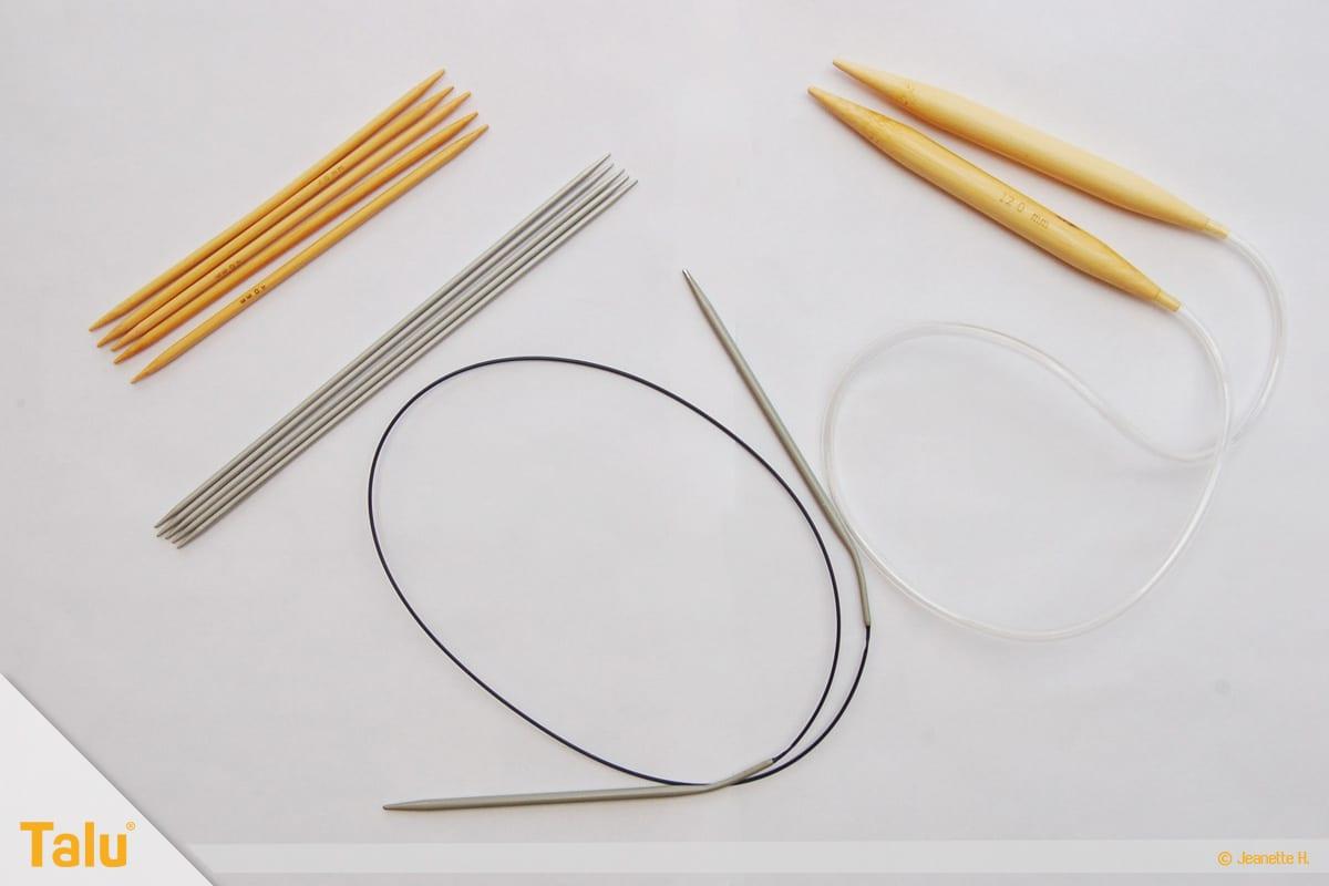 im Kreis stricken, in Runden stricken, verschiedene Stricknadeln