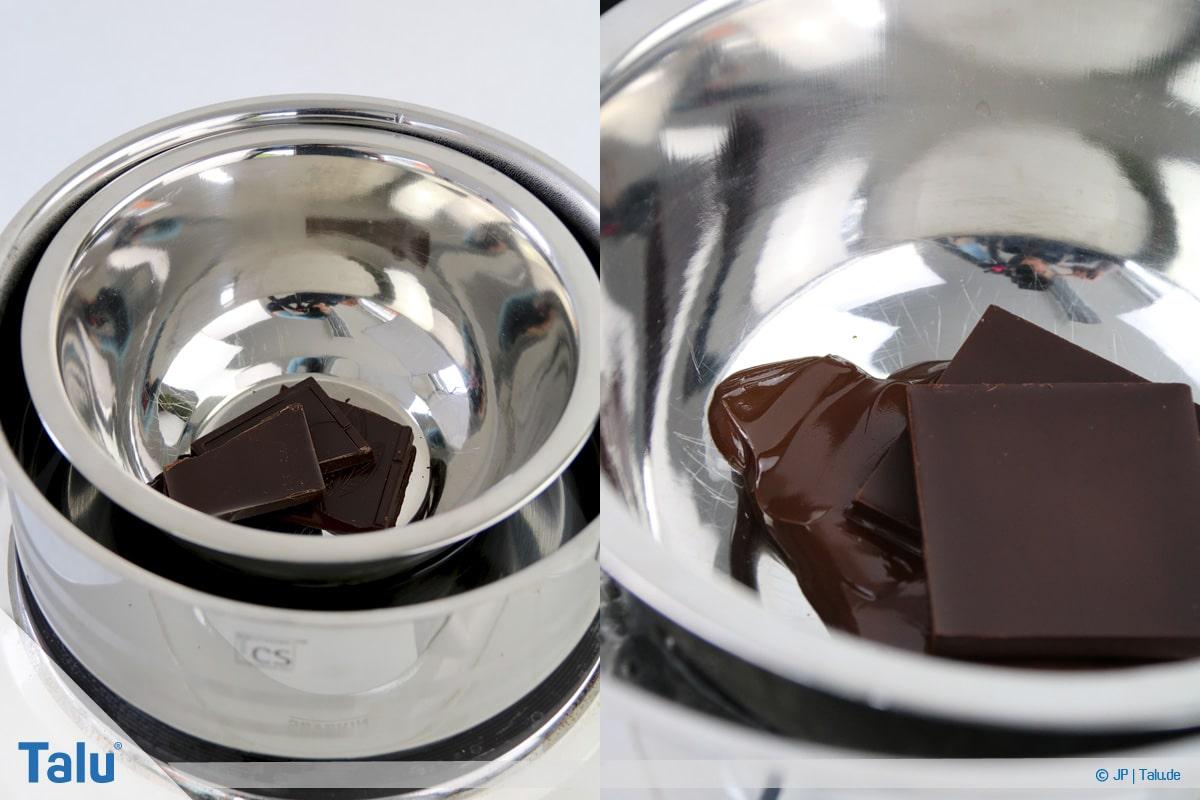 Marzipan färben, Variante mit Schokolade, Schokolade schmelzen