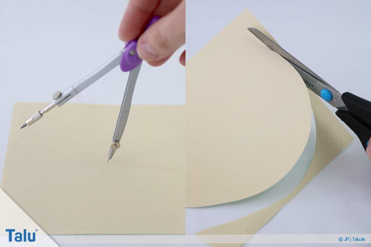 Papierrosen basteln, Anleitung, Einfache Papierrosen, Kreis ausschneiden