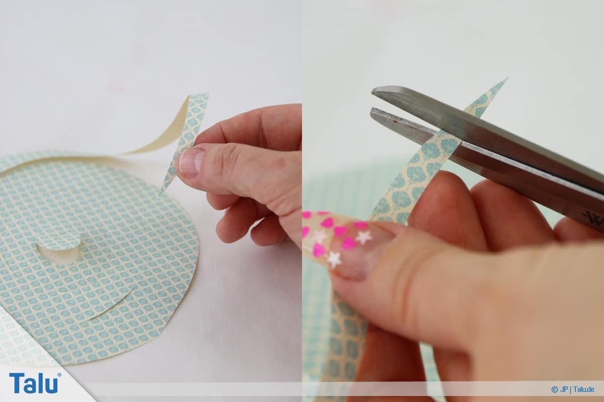 Papierrosen basteln, Anleitung, Einfache Papierrosen, beginnen Papierspirale einzurollen