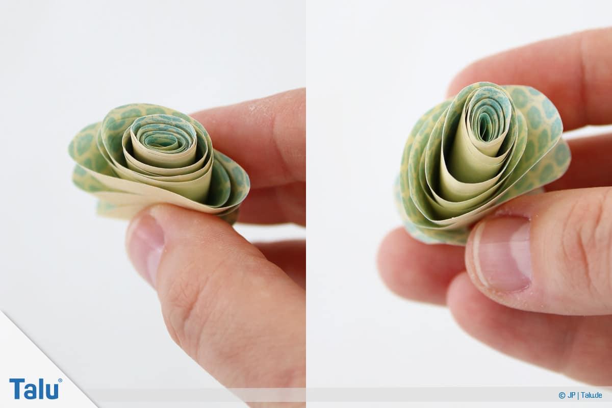 Papierrosen basteln, Anleitung, Einfache Papierrosen, aufgerollte Papierspirale als Rose