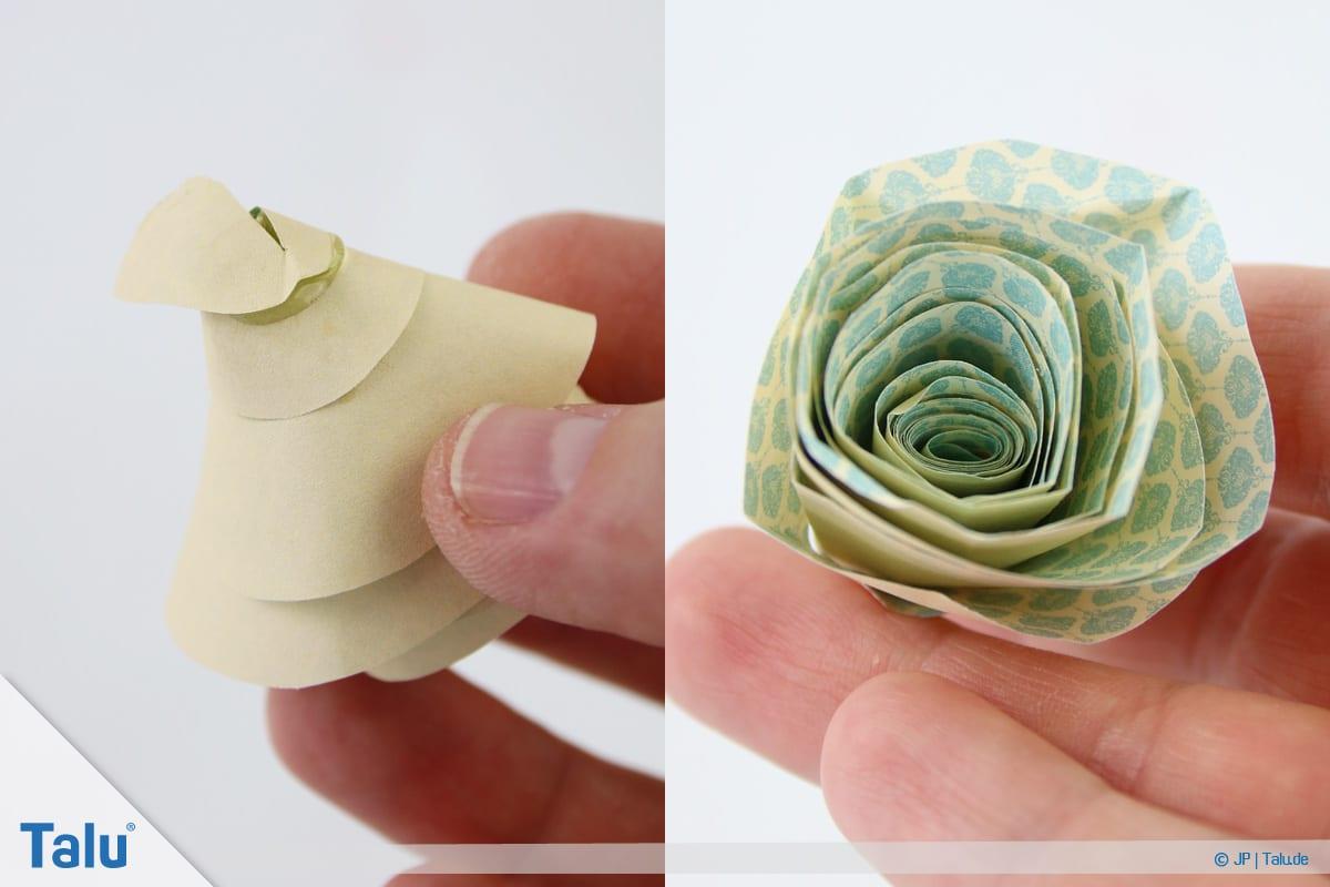 Papierrosen basteln, Anleitung, Einfache Papierrosen, fertige Rose aus Papier