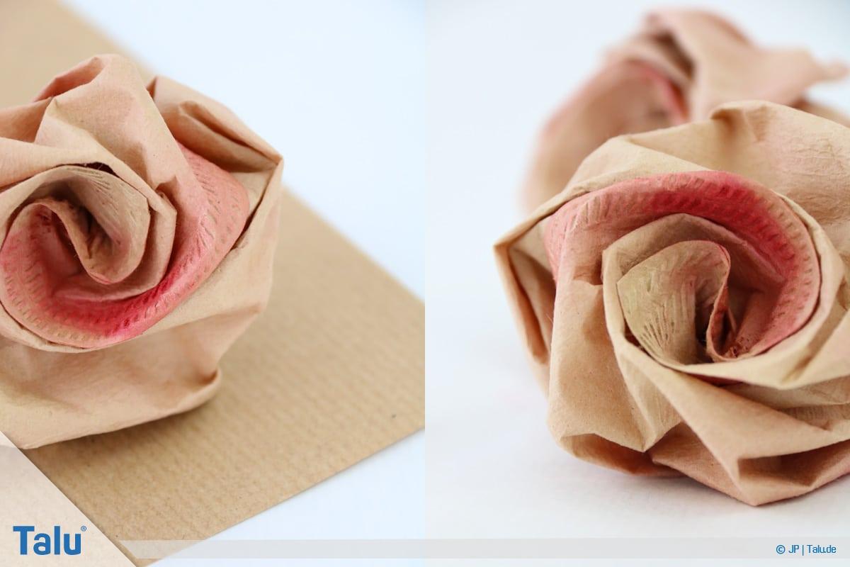 Papierrosen basteln, Anleitung, Papierrosen aus Filtertüten, Rosen aus Kaffeefiltern