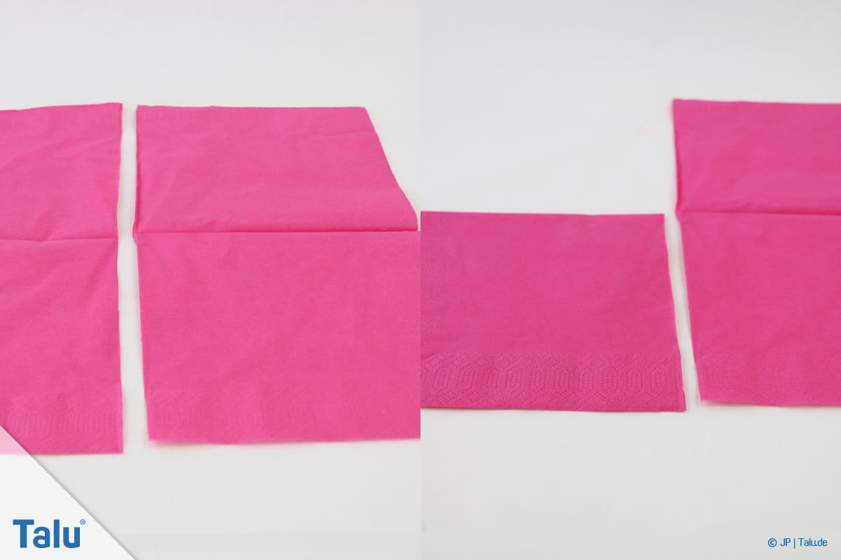 Papierrosen basteln, Anleitung, Papierrosen aus Servietten, Servietten-Teile