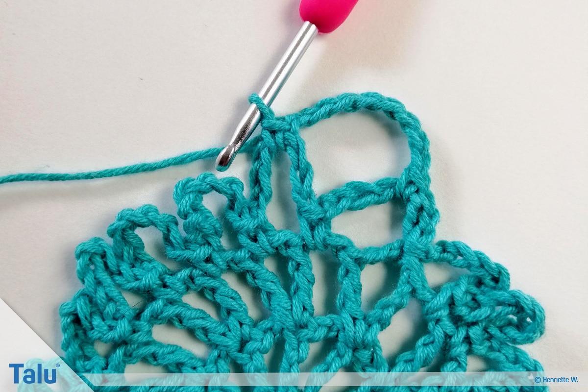 Snood häkeln, gehäkeltes Haarnetz, Variante 1, Snood weiterarbeiten