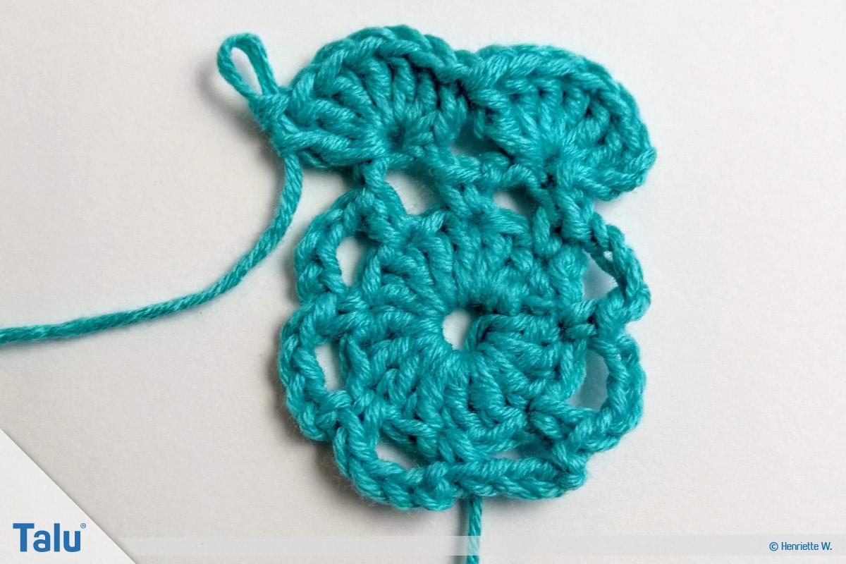 Snood häkeln, gehäkeltes Haarnetz, Variante 2, Stäbchen häkeln