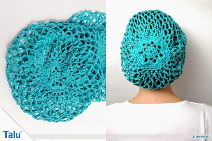 Snood häkeln, kostenlose Anleitung für ein gehäkeltes Haarnetz
