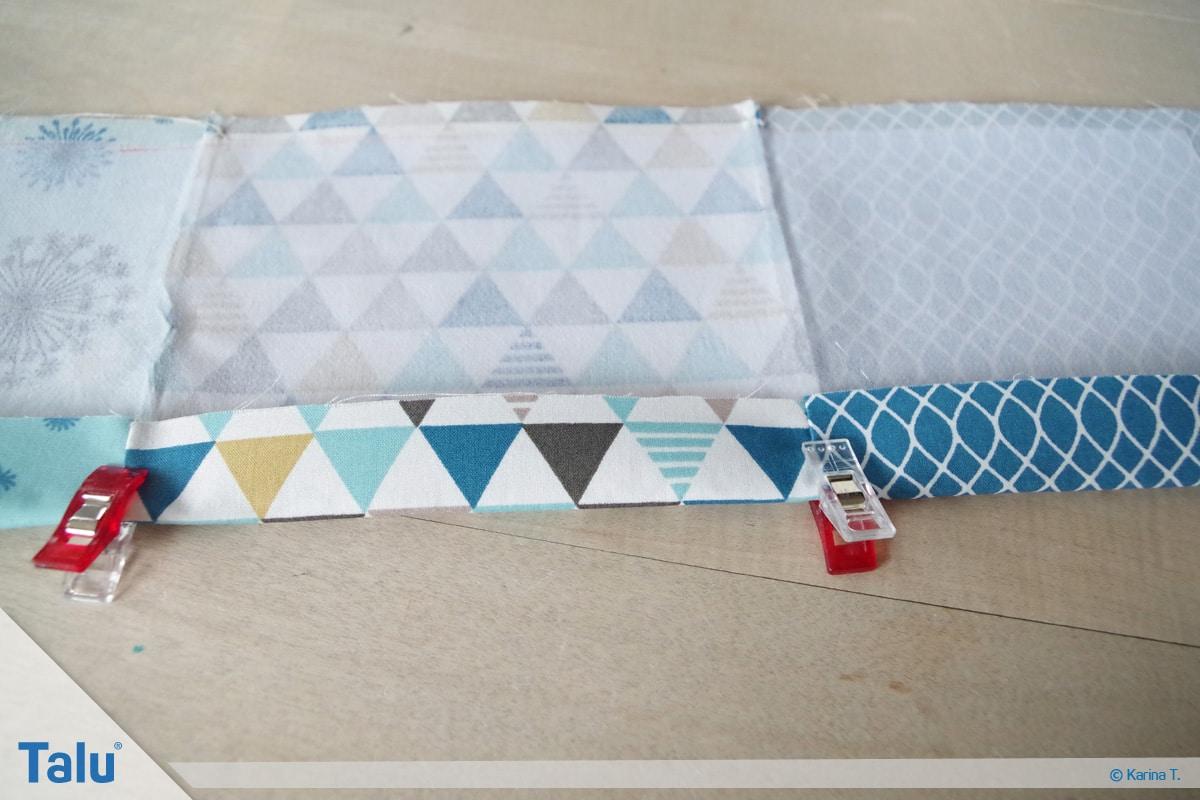 Bettutensilo nähen, Anleitung Betttasche, lange Taschenstückseite festbügeln