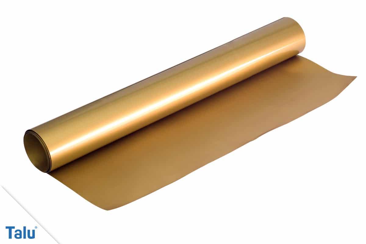 Bügelfolie verwenden, Flexfolie in der Farbe Gold