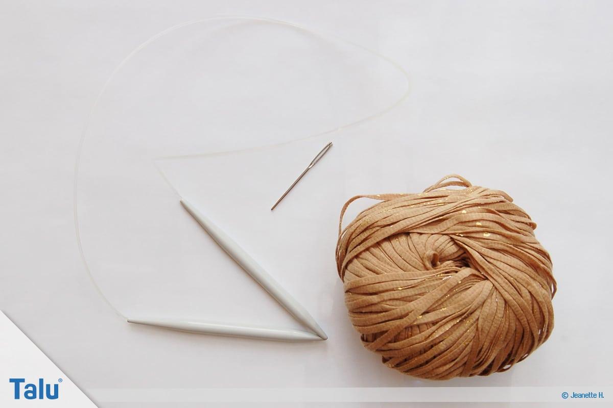 Fallmaschen stricken, Loop stricken, Material