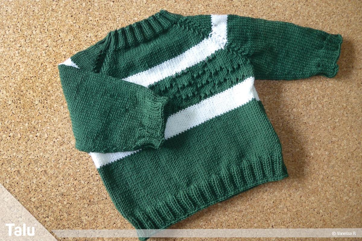 Raglan von oben stricken, fertiger Pullover als Raglan von oben gestrickt