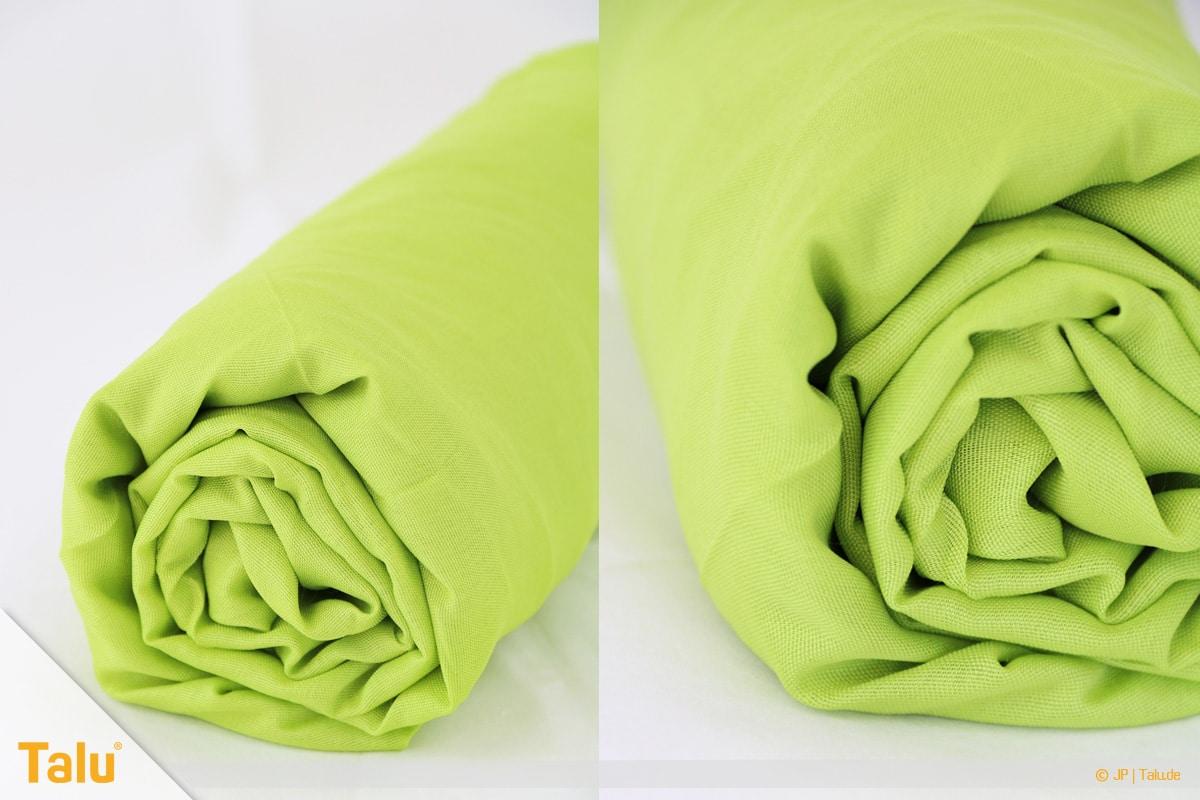 Spannbettlaken zusammenlegen in nur 20 Sekunden, Spannbettlaken alternativ auch zusammenrollbar