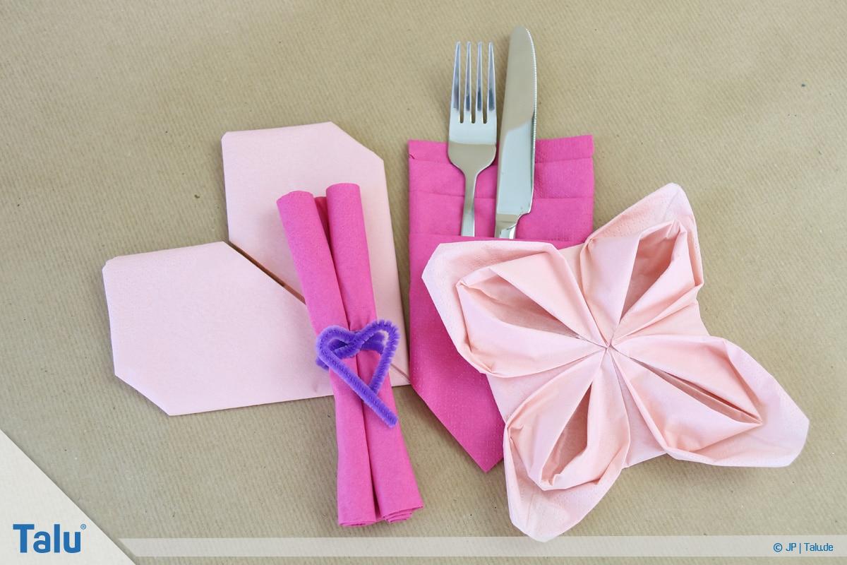 Stoffservietten falten, auch Papierservietten verwendbar