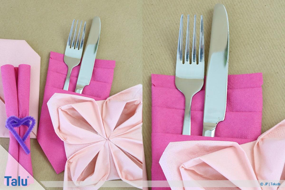 Stoffservietten falten, Bestecktasche aus Papierserviette