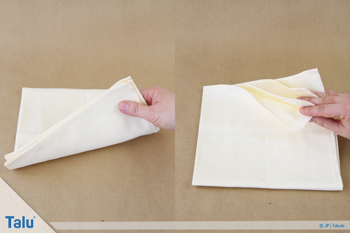 Stoffservietten falten, Bestecktasche, ein Quadrat ist entstanden
