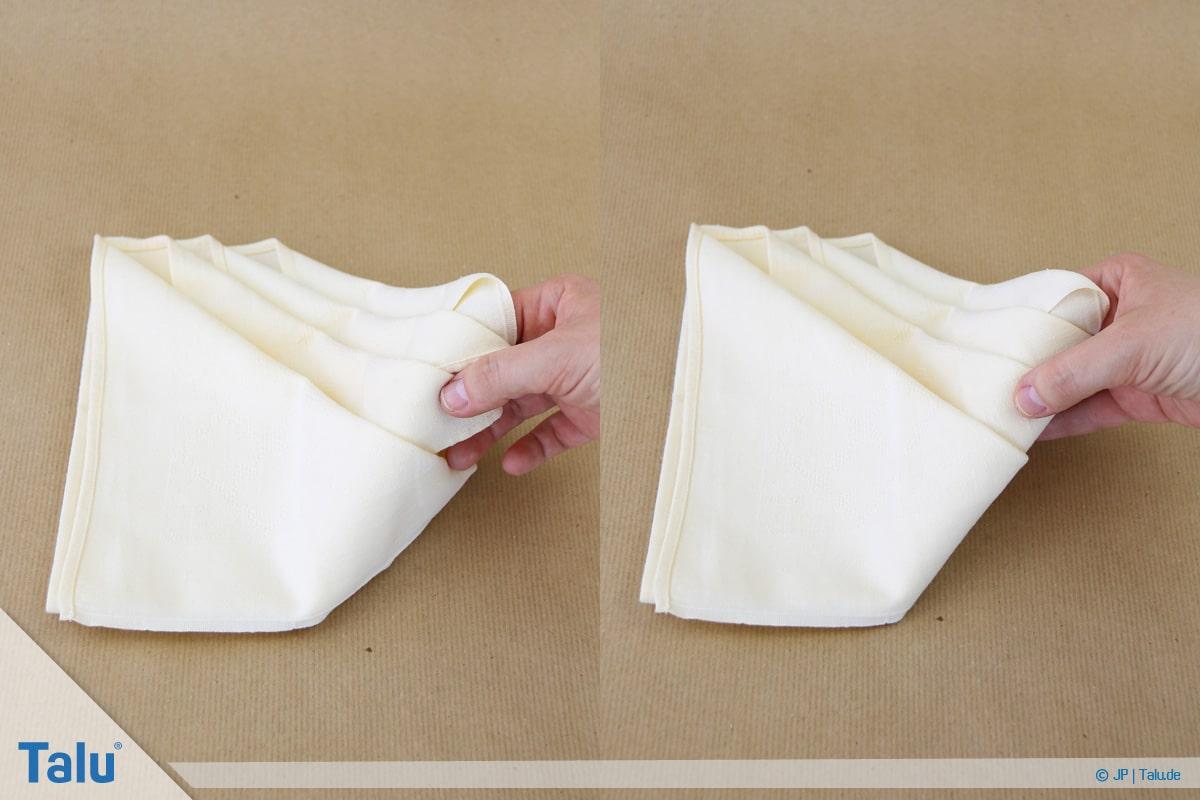 Stoffservietten falten, Bestecktasche, Ecken nach hinten klappen