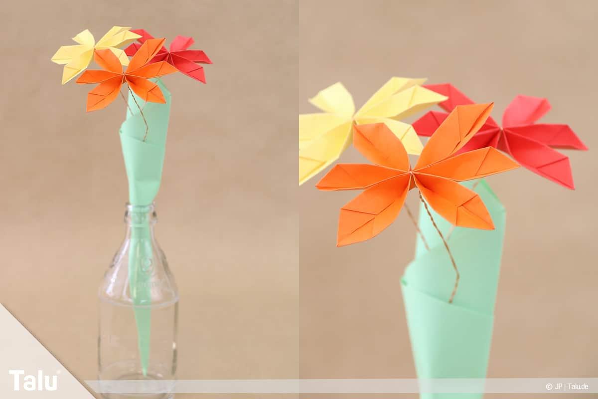 Abschiedsgeschenk für Kollegin basteln, Blumenstrauß, Blumen in eine Vase geben