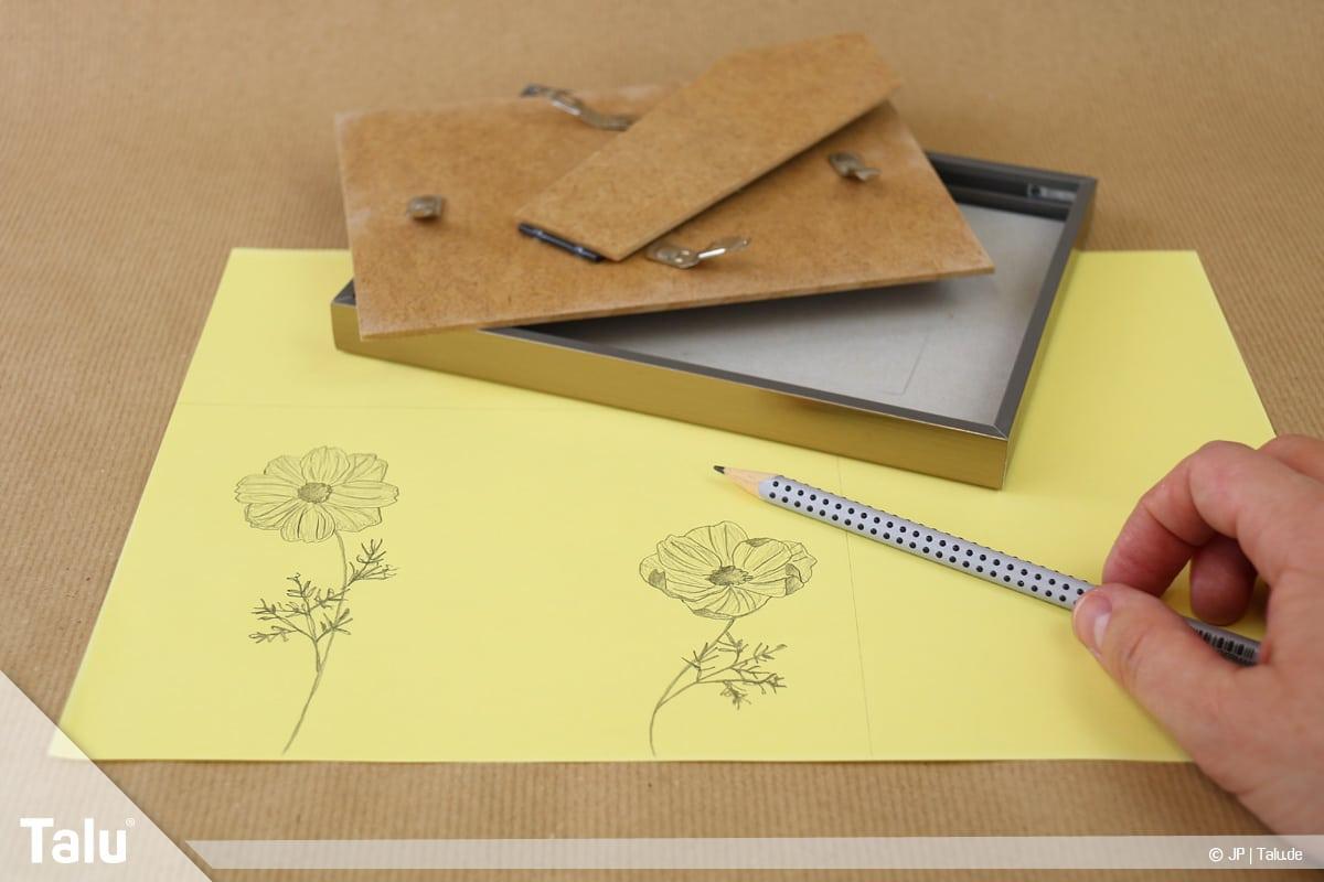 Abschiedsgeschenk für Kollegin basteln, gerahmter Spruch, Tonpapier oder Pappe verwenden