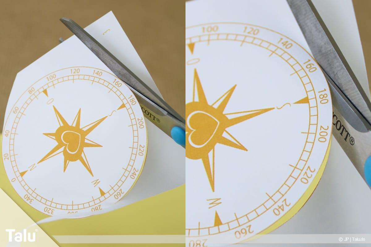 Abschiedskarten für Kollegen basteln, Anleitung mit Vorlagen, Kompass-Vorlage ausschneiden
